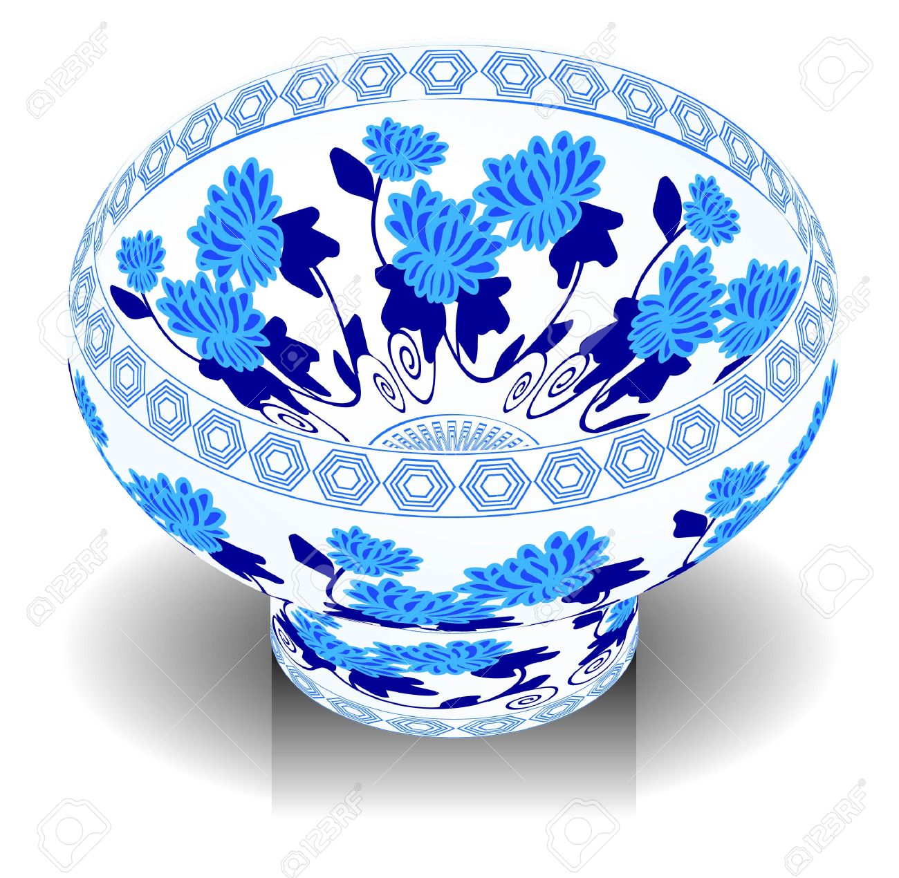 A Vector, Illustration For A China Porcelain, Pottery, Bowl.