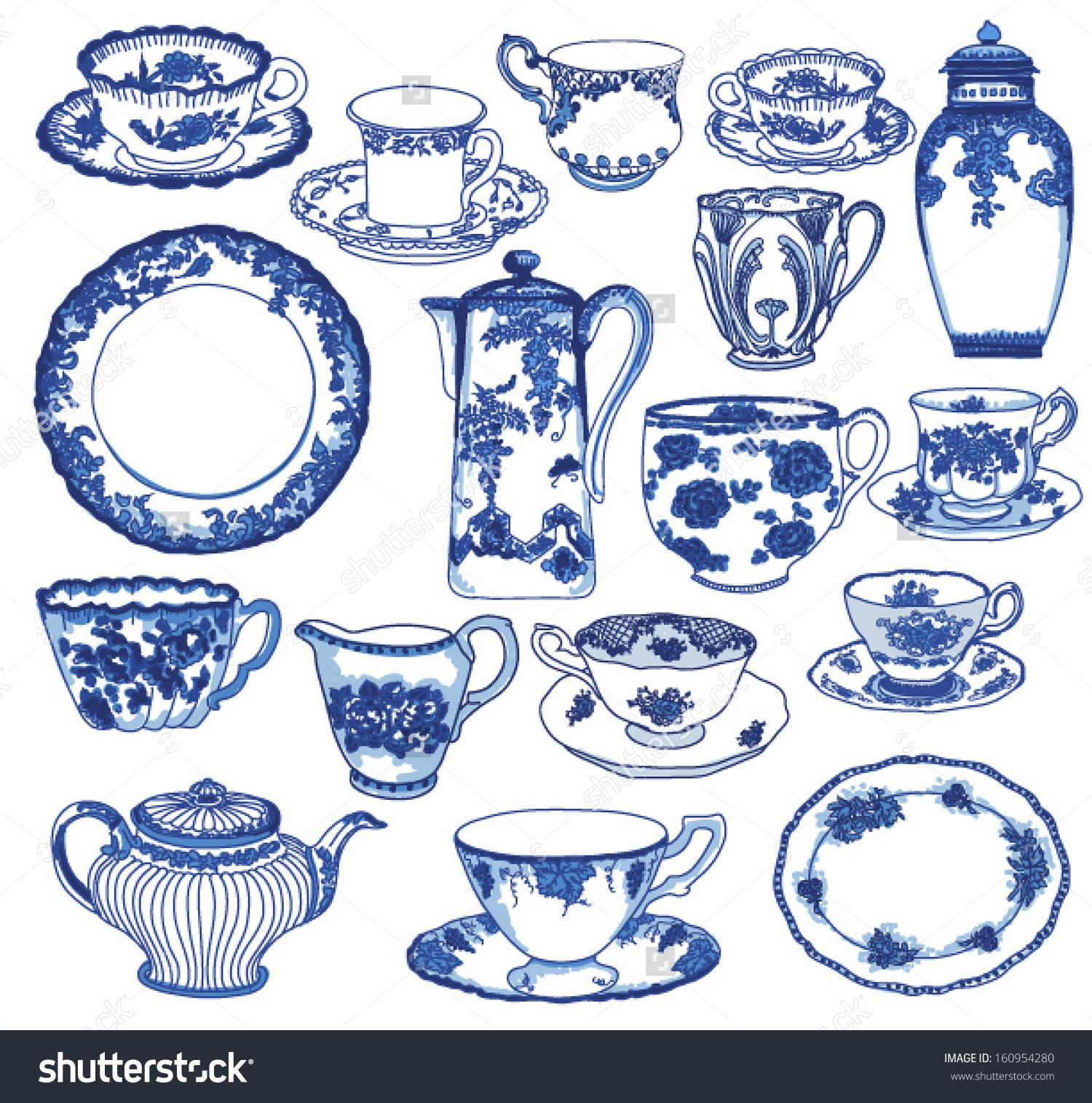 Fine China Set Hand Drawn Porcelain Stock Vector 160954280.