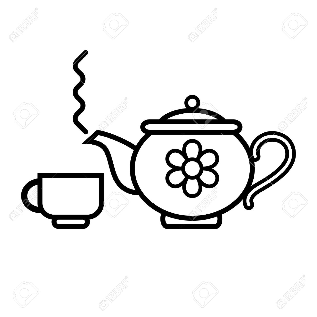 Teapot and Cup Clip Art.