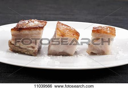 Stock Images of Pork Belly Pieces on Wood 11039566.