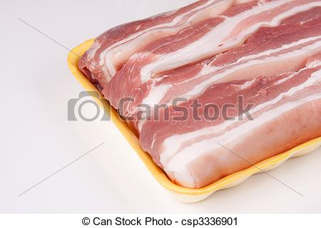 Stock Photography of Raw Pork Belly.