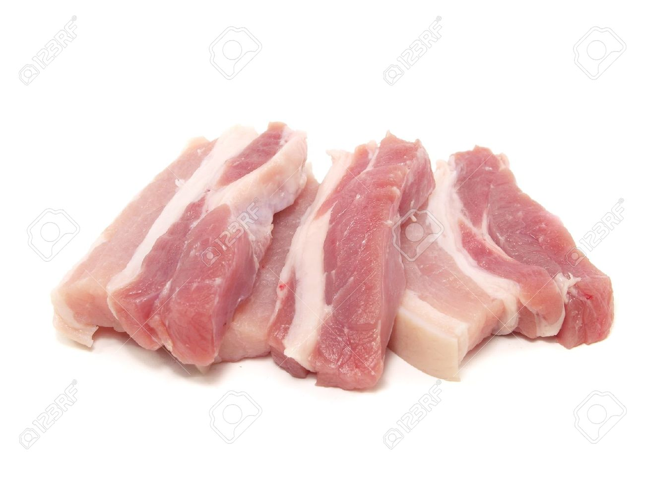 Pork Belly On A White Background Stock Photo, Picture And Royalty.