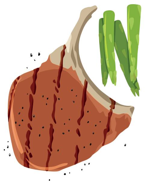Pork chop and asparagus on white background illustration.