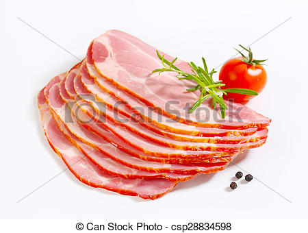 Stock Photographs of Sliced smoked pork neck.
