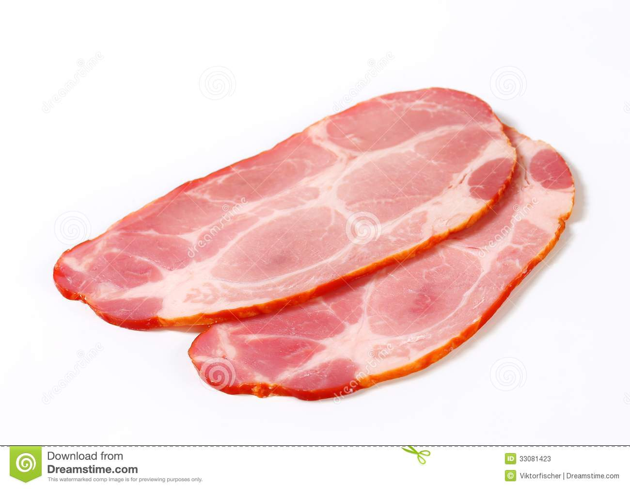 Slices Of Smoked Pork Neck Stock Photos.