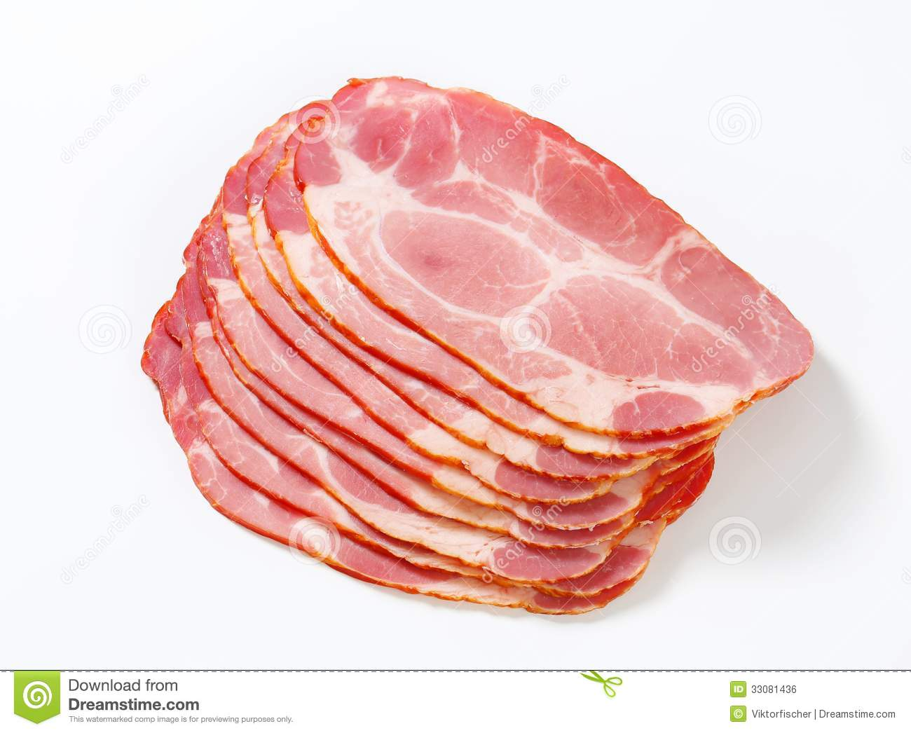 Sliced Smoked Pork Neck Stock Images.