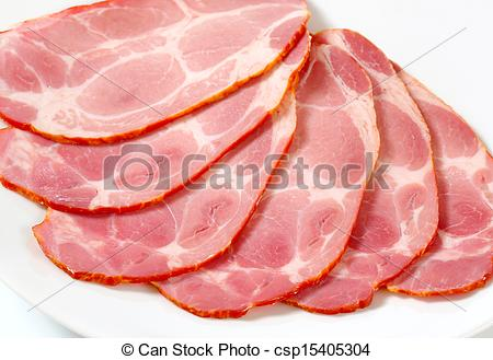 Stock Photography of Sliced smoked pork neck.