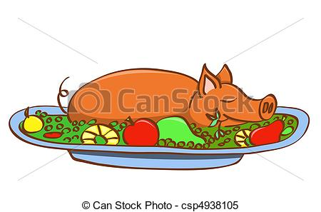 Clipart Vector of Young pork..