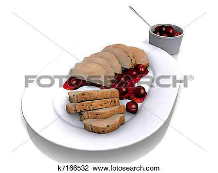 Clip Art of Pork tenderloin and sauce k7166532.