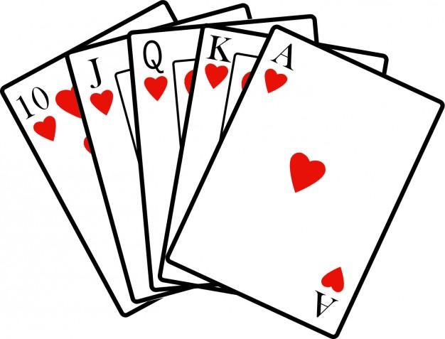 Royal Flush Poker Hand Clipart.