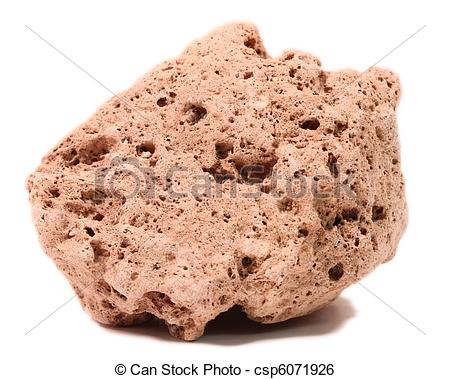Stock Image of pumice rock on white.