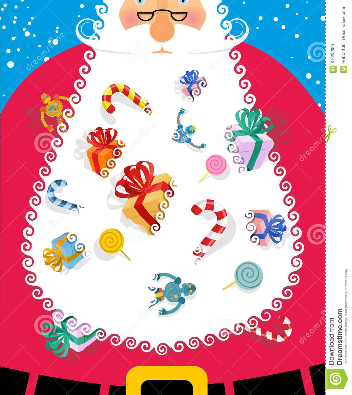 Santa Claus Met Grote Witte Baard Giften En Speelgoed Voor Jonge.