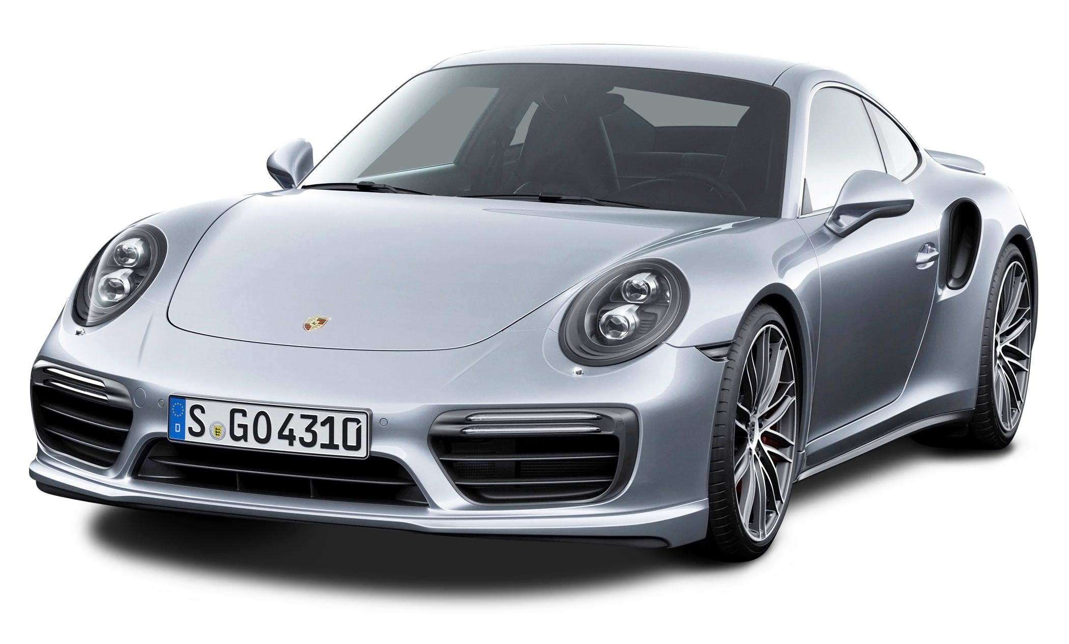 Porsche 911 Turbo Silver Car PNG Image.