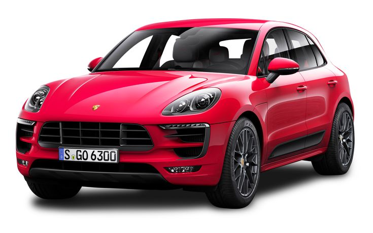 Red Porsche Macan GTS Car PNG Image.