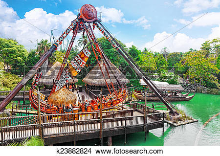 Stock Photo of Amusement park in Spain near Salou.