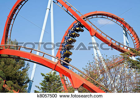 Stock Photography of roller coaster at Port Aventura park, Spain.