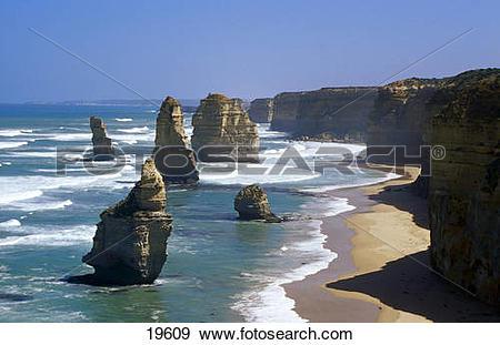 Stock Photograph of Chalk cliffs at seaside, Twelve Apostles Sea.