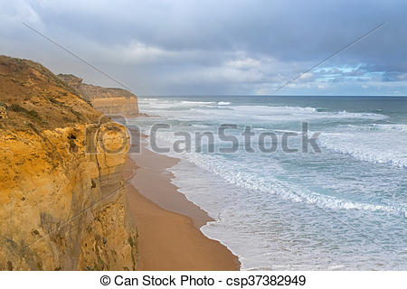 Stock Photo of Coastal view from the Gibson Steps in Port Campbell.