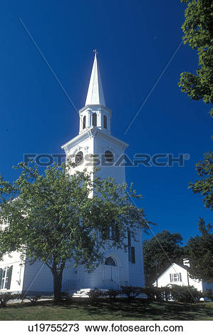 Stock Photo of Cape Cod, Massachusetts, church, Yarmouth Port.