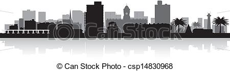 Clip Art Vector of Port Elizabeth city skyline vector silhouette.