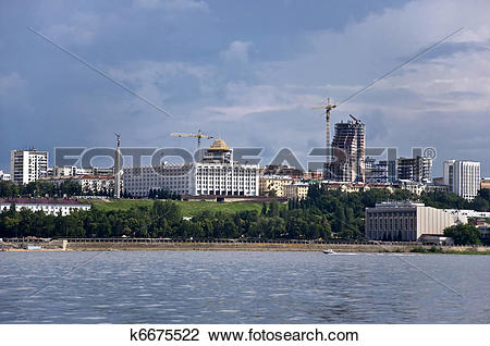 Stock Photo of Sky with storm clouds over the port city. Samara.