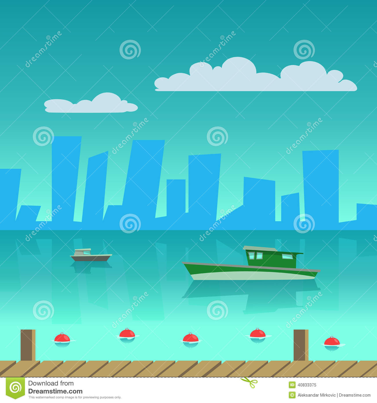Port In The City Stock Vector.