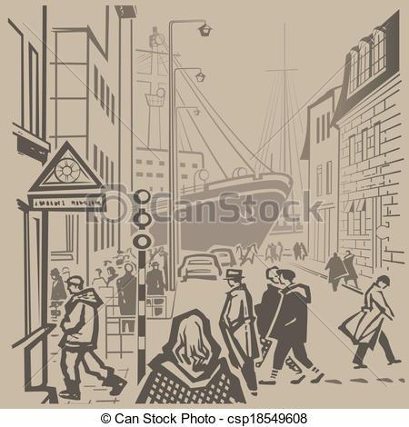 Vector Clipart of Busy streets of European port city vector retro.