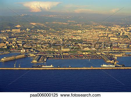 Stock Image of Birdseye view of port city. paa006000125.