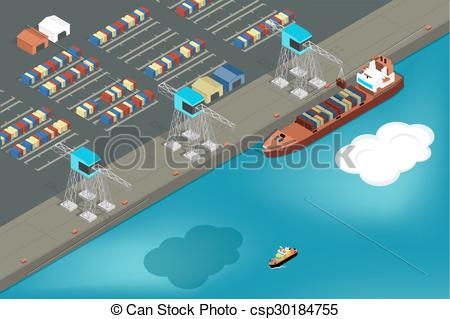 Clipart Vector of Cargo port. Commercial ship loading containers.