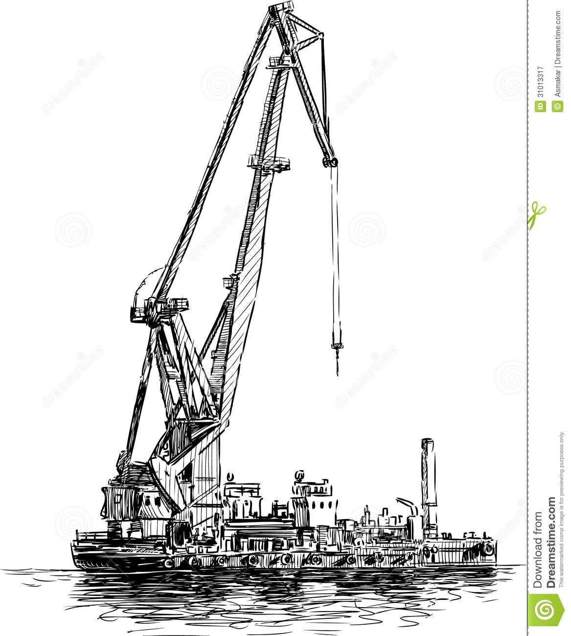 Floating Crane Royalty Free Stock Photography.