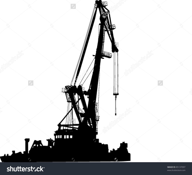 Silhouette Floating Port Crane Stock Vector 85137097.