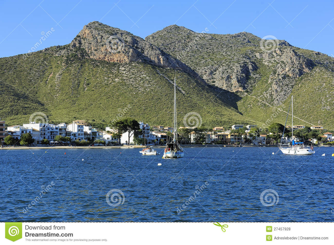 View Of The Harbor Of Port De Pollenca Royalty Free Stock Photos.