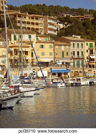 Stock Photography of Port de Soller, local fishing boats and.