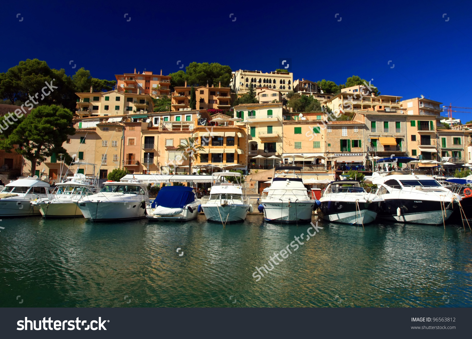 Puerto De Soller Port Of Mallorca With Boats In Balearic Island.