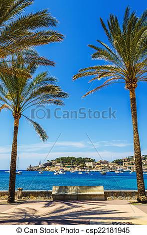 Stock Photo of Port de Soller in Mallorca.