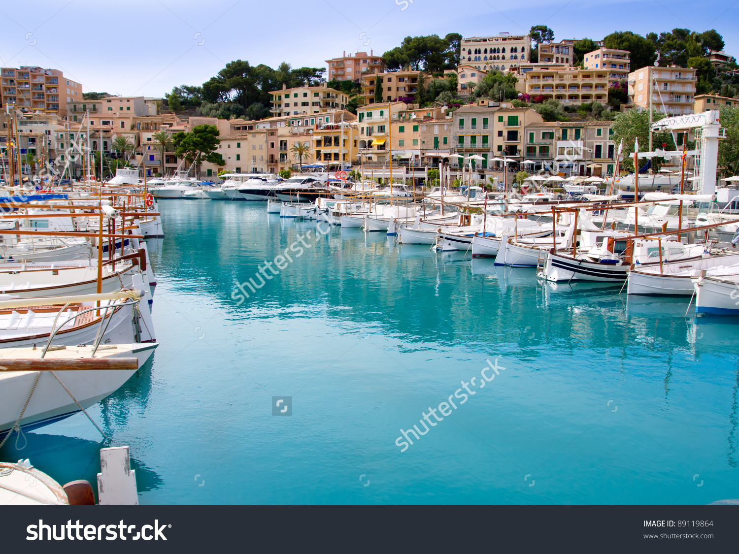 Puerto De Soller Port Of Mallorca With Llaut Boats In Balearic.