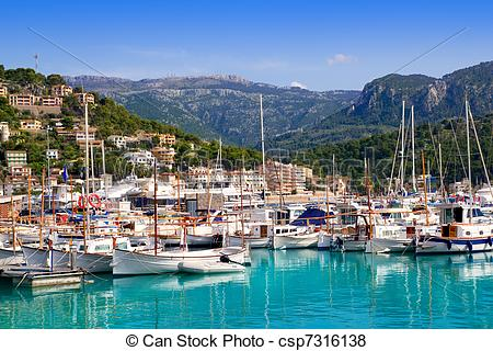 Pictures of Port de Soller view with tramontana mountain in.