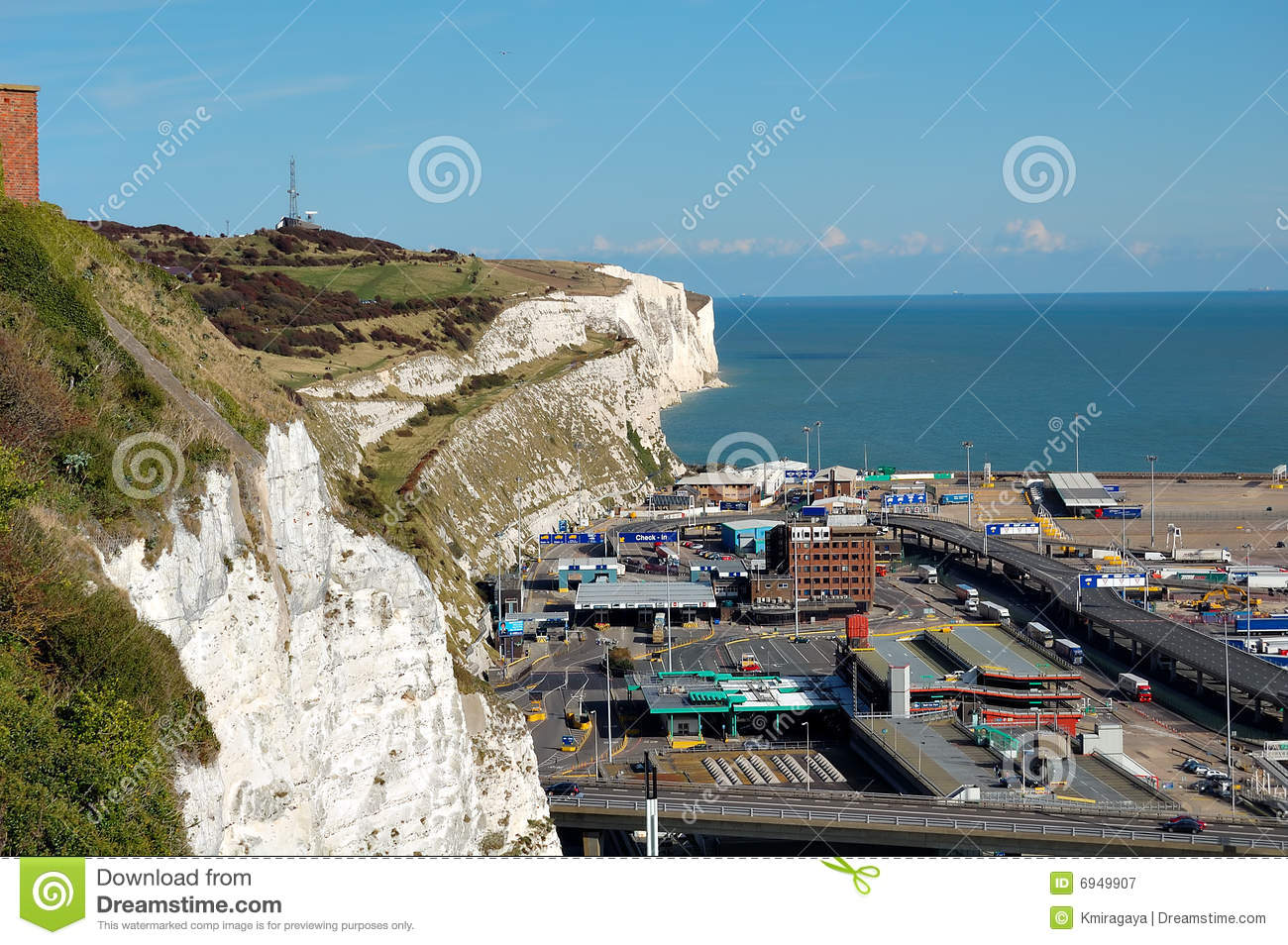 White Cliffs And The Port Of Dover Royalty Free Stock Photography.