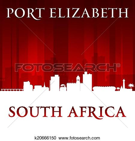 Clipart of Port Elizabeth South Africa city skyline silhouette red.