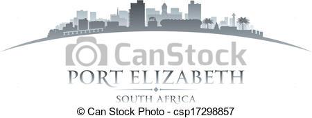 Clipart Vector of Port Elizabeth South Africa city skyline.