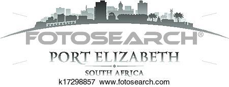 Clip Art of Port Elizabeth South Africa city skyline silhouette.