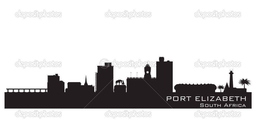 Port Elizabeth South Africa skyline Detailed vector silhouette.