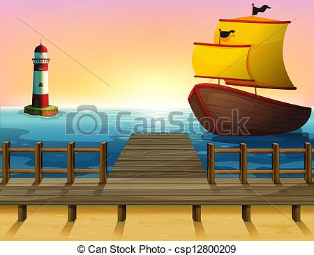 Vector Clipart of A sunset view of the port with a wooden boat.