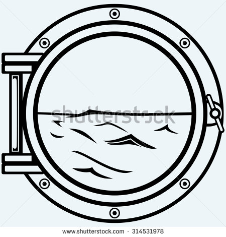Porthole clipart black and white.