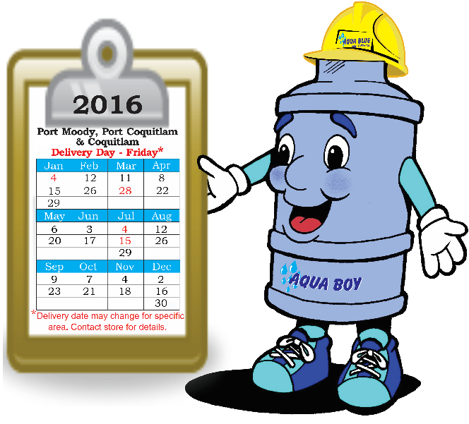 Bottled Water Delivery Schedule.