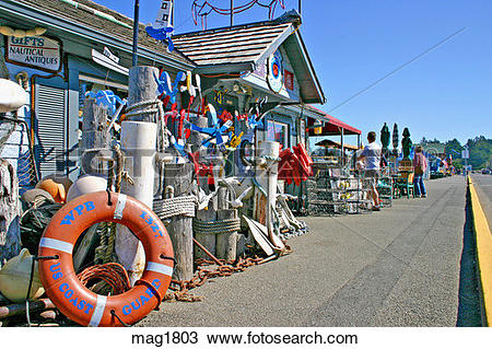 Stock Photo of People at Port O Call restaurant on waterfront in.