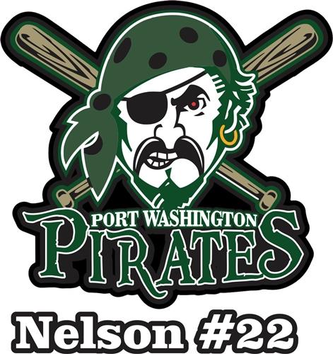 Port Washington Pirates Youth Baseball Custom Car Window Decals.