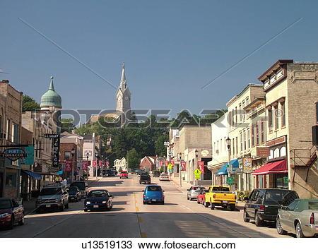 Stock Photo of Port Washington, WI, Wisconsin, Downtown, main.