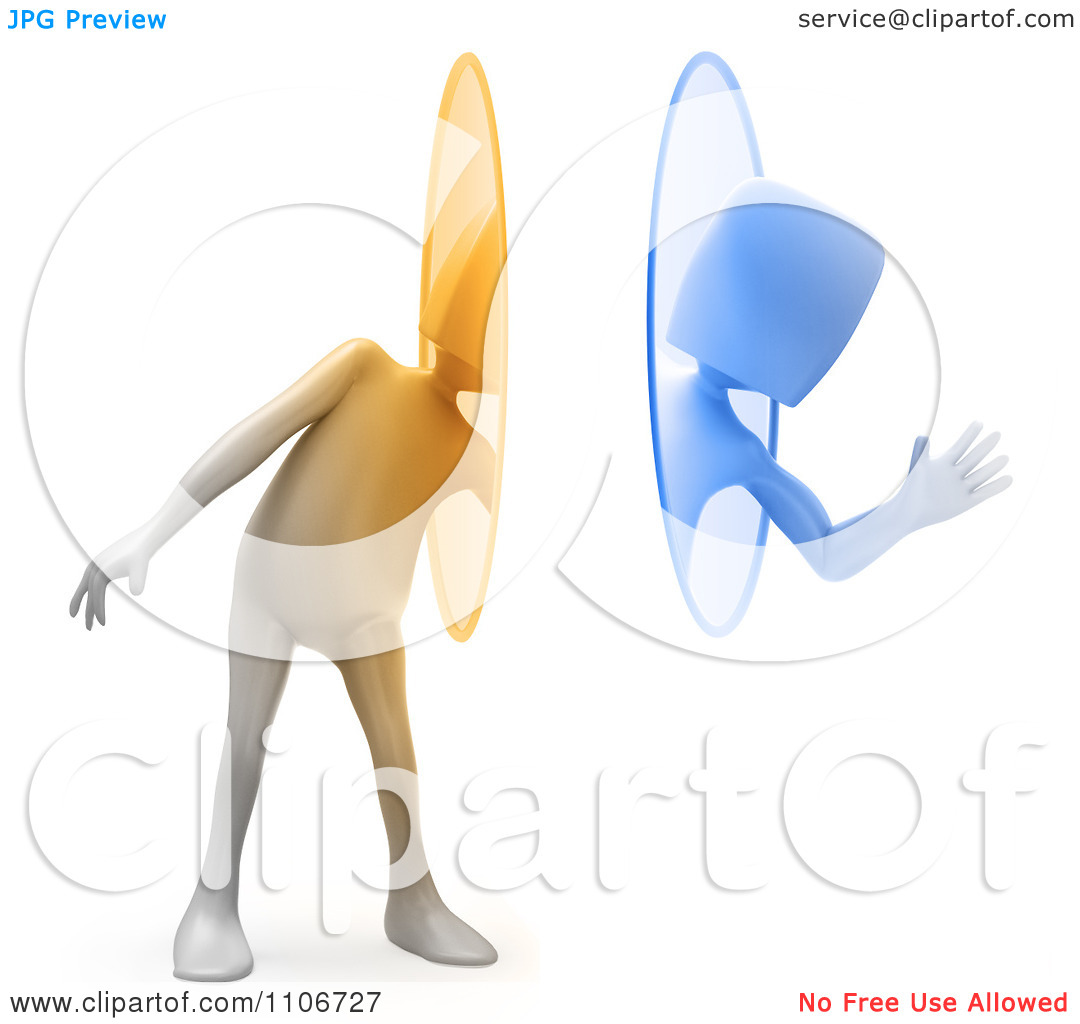 Clipart 3d Person Waving And Using A Teleportation Portal.