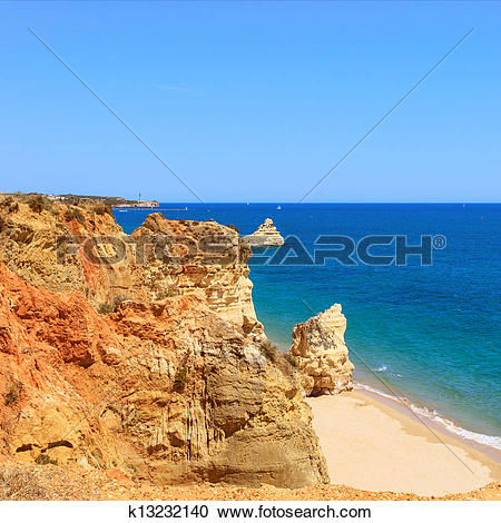Stock Photography of Rock Beach Praia da Rocha in Portimao.